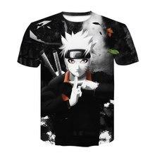 2021 nova série naruto camiseta kakashi menino menina anime original verão em torno do pescoço camisa superior roupas de rua atacado