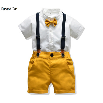Najlepsze i najlepsze zestawy ubranek dla niemowląt niemowlęta nowonarodzone chłopięce ubrania spodenki rękawy topy + kombinezony 2 szt Stroje letnie Bebes odzież tanie i dobre opinie top and top POLIESTER COTTON W wieku 0-6m 7-12m 13-24m 25-36m CN (pochodzenie) CZTERY PORY ROKU Dla chłopców moda MANDARIN COLLAR