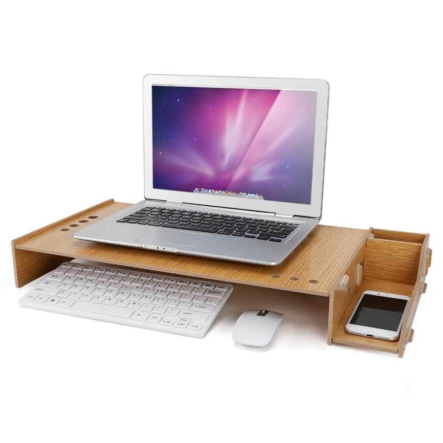 DIY Office Desktop Monitor Srand Desk Storage Box monitor riser Wooden Rack  PC Laptop Stand Organizer Desktop Rack Laptop Stand