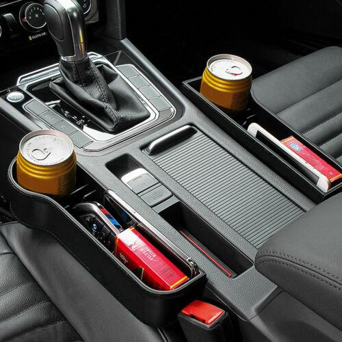 2 Pcs Car Seat Gap Slit PU Leather Large Catcher Box Leakproof Organizer Beige