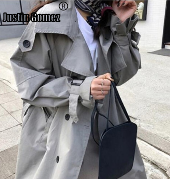 Outwear Trench-Coat Vintage Korean-Fashion Double-Breasted Brand Mid-Long Washed High-Quality title=