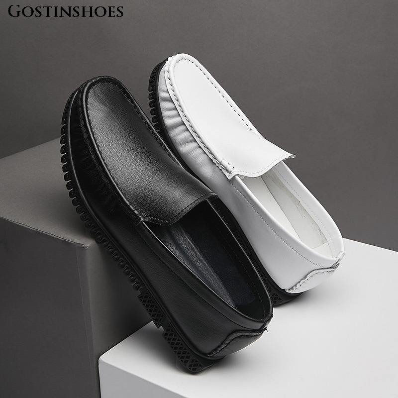 Slip-on Men Loafers White Shoes KPOCCOBKN Casual Shoes Genuine Leather Shoes Loafers