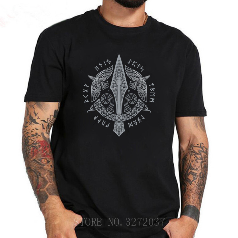 Ancient Symbol men T-shirt For Male Round Neck New Vkings T-shirt 2019 New Casual o-neck Homme Tee Shirt image