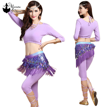 4 Colors Modal Adult Belly Dance Costume Set Black Pink Belly Dance Yoga Practice Wear with Short Tops Long Sleeve Pants Half