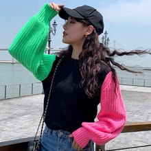 Autumn Women's Sweater Knit Pullover Contrast Color Lantern Sleeve Sweater Women Casual Korean Pullover Sweater Woman New 2019 lantern sleeve plain pullover sweater