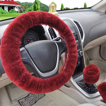 3Pcs/set Winter wine red warm Wool plush car steering wheel cover handbrake covers Automotive Interior Decor image