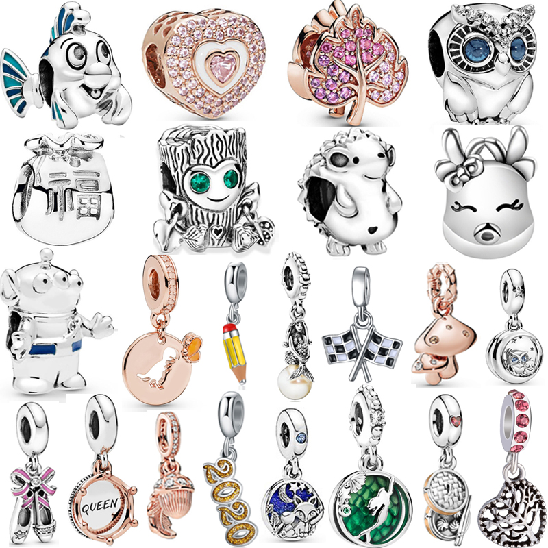2019 Autumn NEW Moments Flower Pendant Fit pandora Bracelet Necklace Little Mermaid Flounder Charm DIY Jewelry Gifts love Hearts(China)