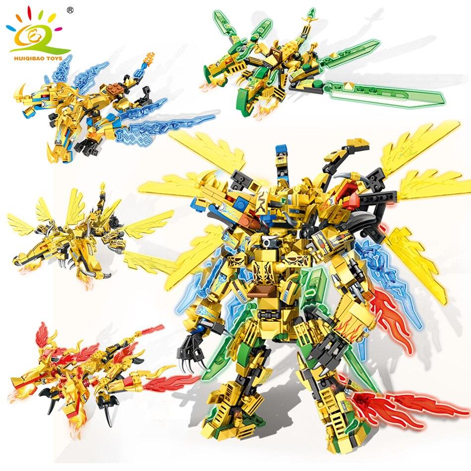 HUIQIBAO 727pcs Ninja Gold Dragon Knight Mecha Weapon Building Blocks City Robot Fight Ninja Figures Bricks Toys Children 4in1