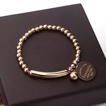 "COLOGO New ""Fantastic Eternal Love New York""Fashion Romantic Stainless Steel Ball Beads Bracelets for Women Jewelry Gifts KA1(China)"