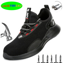 Labor shoes anti-smashing anti-puncture summer flying woven breathable lightweight warm insulation work safety