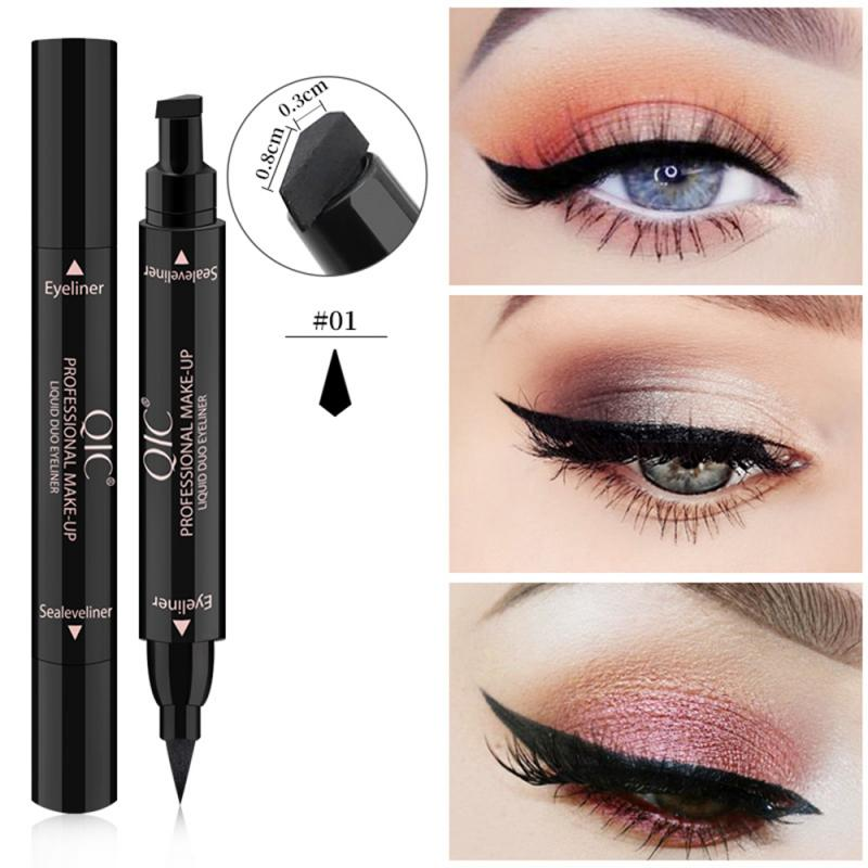 QIC Double-ended Liquid Eyeliner Pencil Quick Dry Waterproof Black Brand Makeup Black Eye Liner Liquid Pen Makeup Seal Eyeliner
