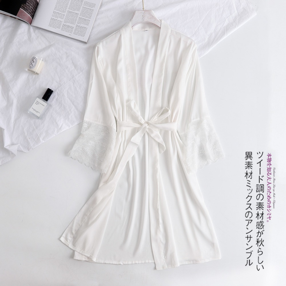 White Women Rayon Lace Robes Wedding Bridesmaid Bride Gown Kimono Solid Robe Sleepwear Nightgown Bridesmaid Robes Size M-XXL