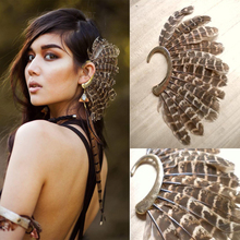 Africa Wholesale or Retail- New Unique 1Pc(Left)Unisex Big Feather Ear Cuff Non Piercing Gold Clip On Earrings For Women/Men плед left ear
