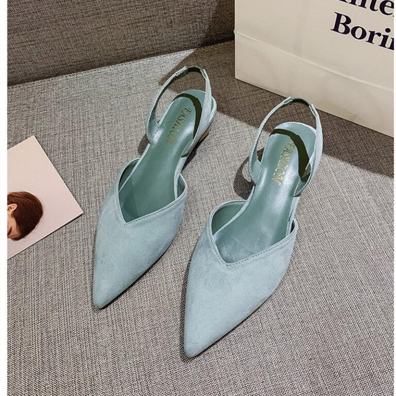 SLHJC Women Spring Low Heels Shoes Shallow Summer Sandals Pointed Toe V Mouth Sweet Lady Dress Princess Pumps Shoes 3 CM
