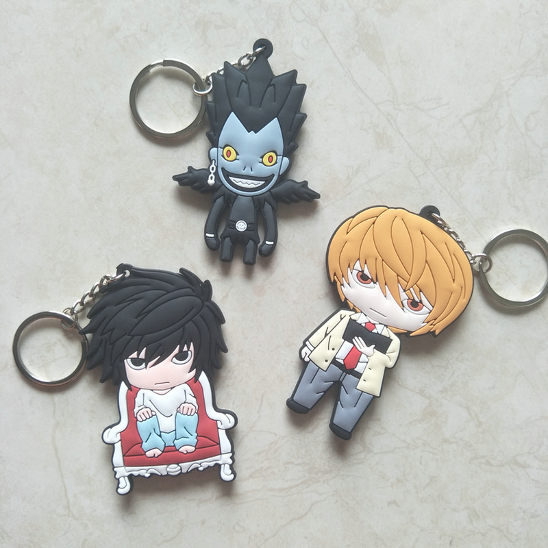 Japanese Anime Death Note L PVC Keychain Yagami Light Ryuuku Funny Personalized Men Women Pendant Keyrings Llaveros Breloki Gift