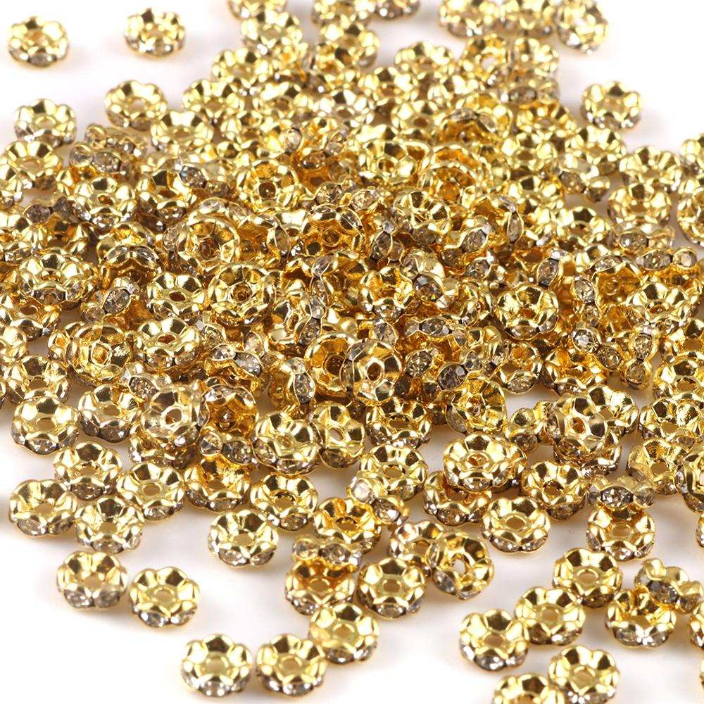 Gold-Plated Crystal-Spacer-Beads Necklace Jewelry-Findings-Making Rhinestone Rondelles