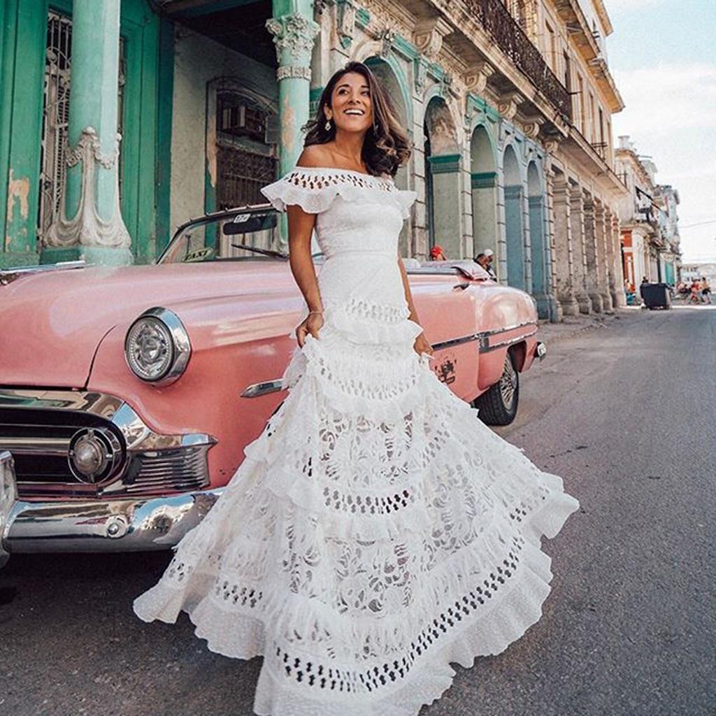 JAYCOSIN 2019, новое летнее женское платье, праздничное, белое, кружевное, открытое, сарафан, одноцветное, с вырезом лодочкой, макси, Формальные платья, Vestido Z0730 Платья      АлиЭкспресс