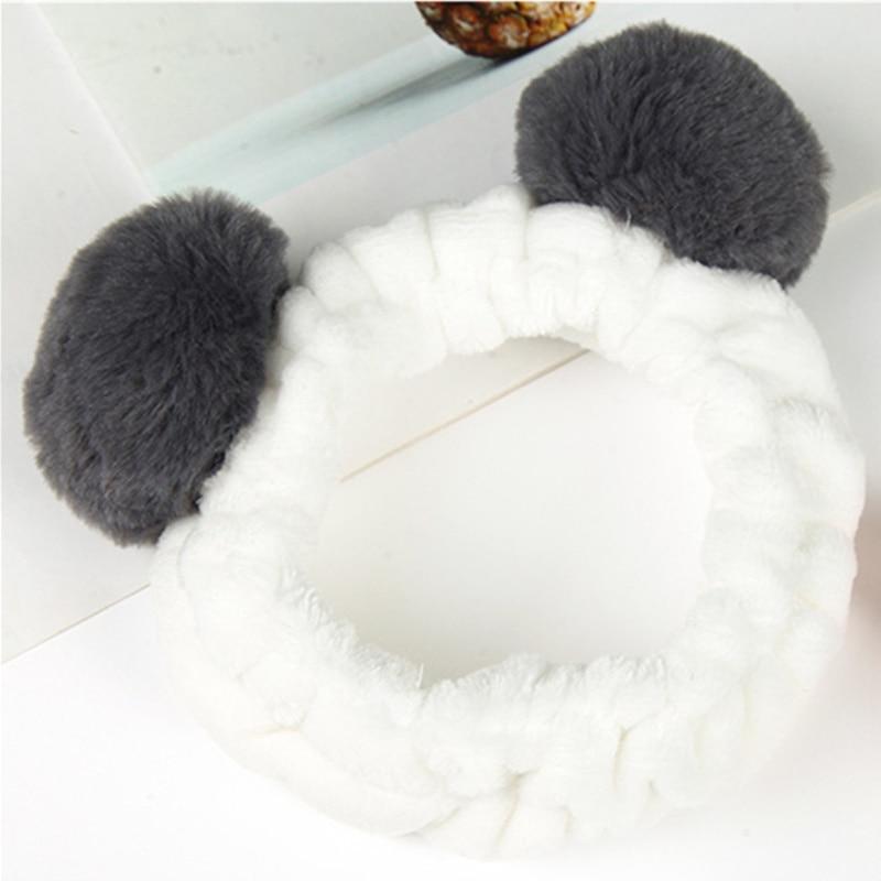 Elastic Cute Panda Hairbands Ear Soft Carol Fleece Headband For Women Headwear Makeup Shower Washing Face Spa Mask Head Wraps