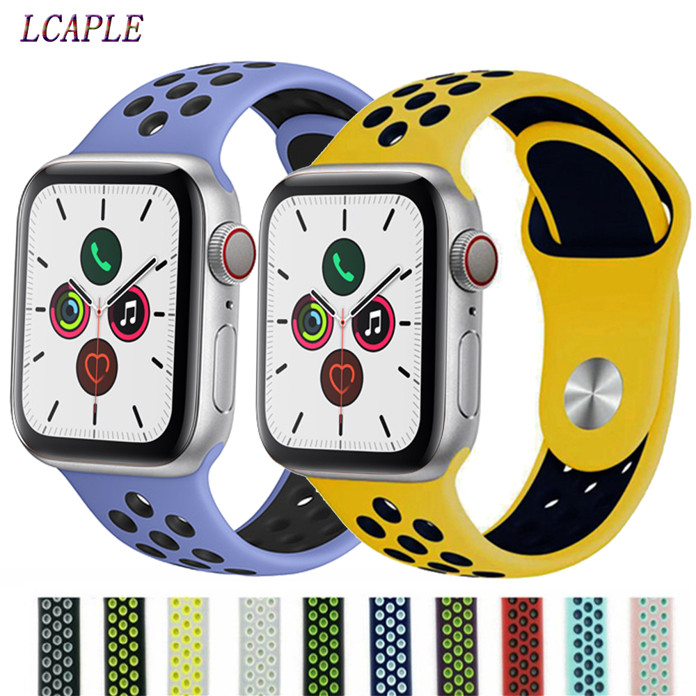 Silicone Strap For Apple Watch Band 44 Mm IWatch Band 42mm Breathable Sport Correa 38 Mm 40mm Watchband For Apple Watch 5 4 3 2
