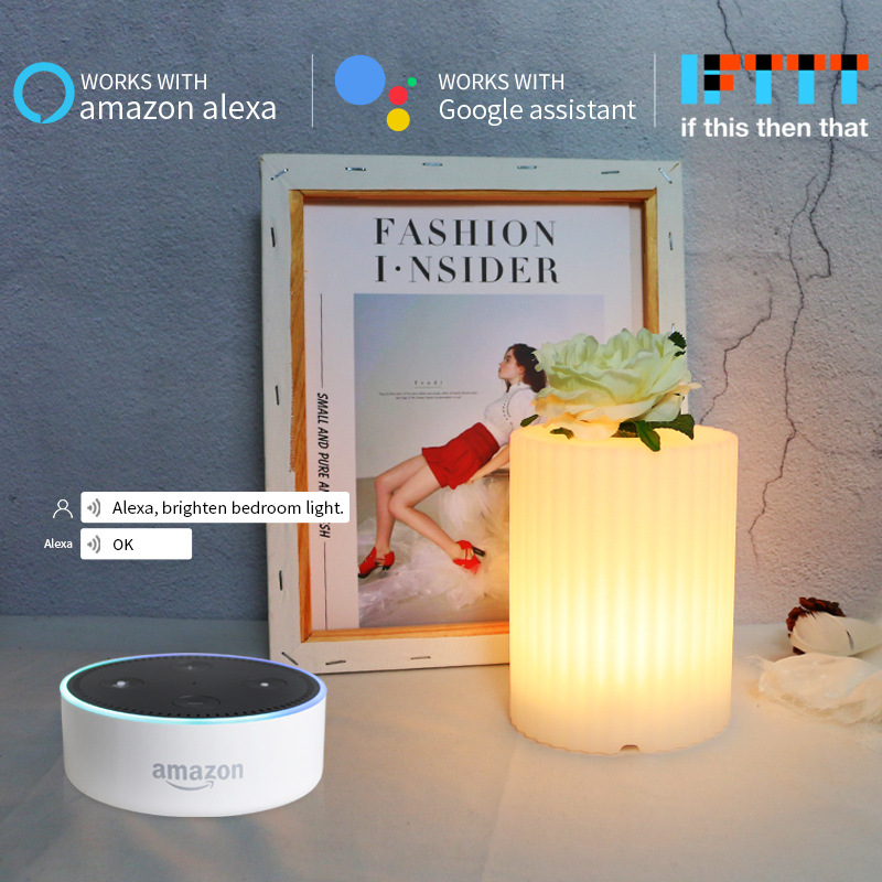 Led Smart Voice Control Vase Night Light RGB Wifi APP Remote Dimmable Table Light For Google Home Amazon Alex Smart Desk Lamp