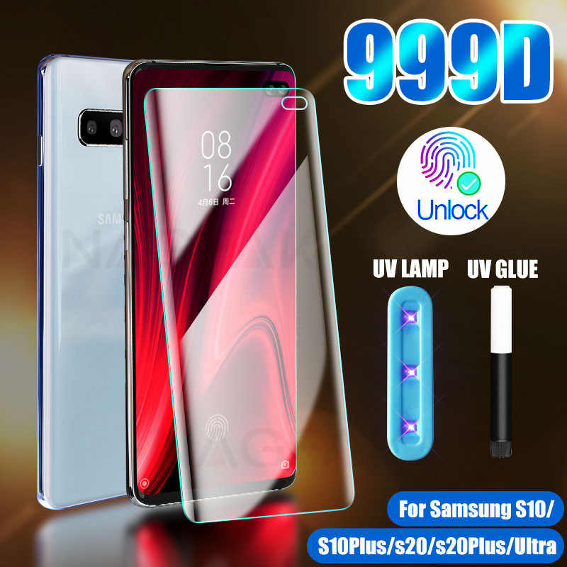 Uv Gehard Glas Voor Samsung Galaxy S10 S20 S8 S9 Plus Ultra Full Liquid Screen Protector Voor Samsung Note 10 9 S10E S10 Glas