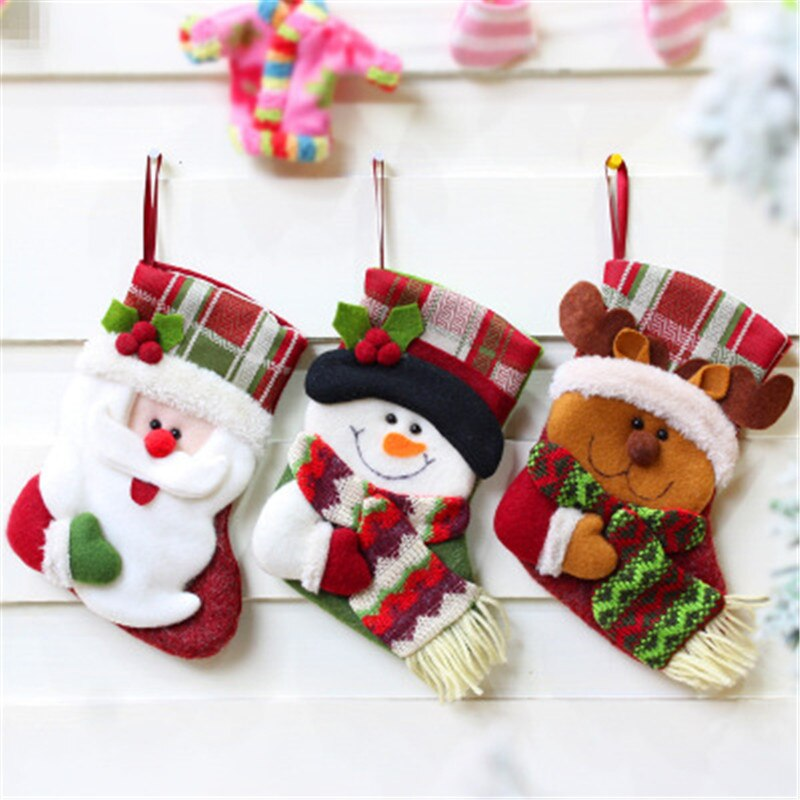 Christmas Stockings Cartoon.Us 3 5 35 Off 2pc Christmas Stockings Santa Claus Sock Cartoon Printing Burlap Christmas Gift Bags Fireplace Ornaments For Party Decorations On
