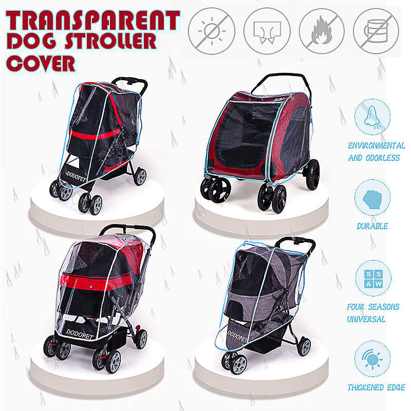 Outdoor Pet Stroller Cover Dog Cat Car Cart Teddy Puppy Out of The Cart Outer Shade Glare Baby Carriage Rainproof Cover Colorful