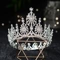 Тиары-короны в стиле барокко для невесты, крупные тиары круглой формы с кристаллами и стразами, корона для конкурса и выпускного вечера, сва...
