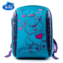Delune Brand Kids Orthopedic School Backpack For Embroidery Bear Pattern Bags Boys Girls Students Bag