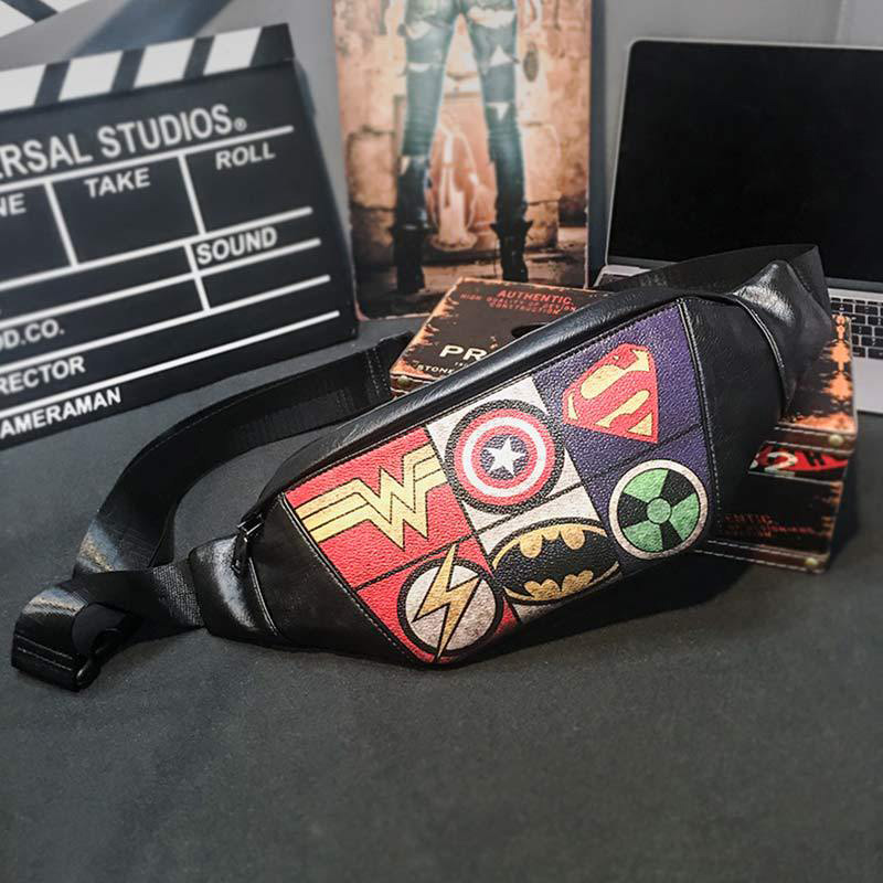 New Men Waist Bag Leather Fanny Pack Chest Bag Men Black Fanny Pack Banana Bags High Capacity Pattern Kidney Shoulder Bags