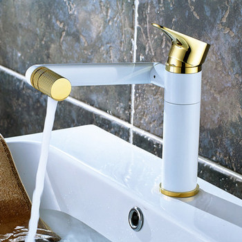 Bathroom Basin Faucet Hot & Cold Sink Mixer Tap Brass Rotating Lavatory White Baking Water Crane Tap Single Handle Deck Mounted 7