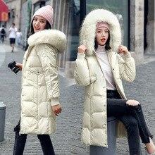 Женский Длинный Облегающий пуховик на 100% белом утином пуху, с воротником из натурального Лисьего меха, зима 2019