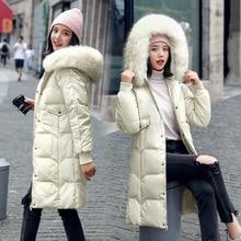2019 winter new 100% white duck down jacket natural fox fur collar long slim body beauty ladies down jacket