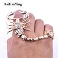 Новинка, огромное кольцо в стиле панк скорпион из двух частей, регулируемое кольцо в стиле ретро с кристаллами, индивидуальное большое коль...