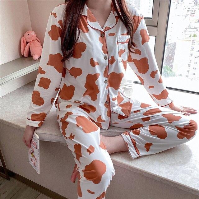Фото женская пижама с рукавом весенняя пижама женская хлопковая отложным