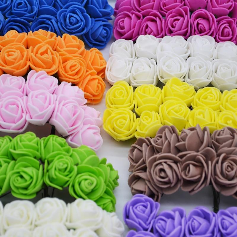 2cm 72pcs/lot Mini Artificial Foam Rose Flower Heads for Wedding Decoration DIY Bride Bouquet Garland Scrapbooking Fake Flowers