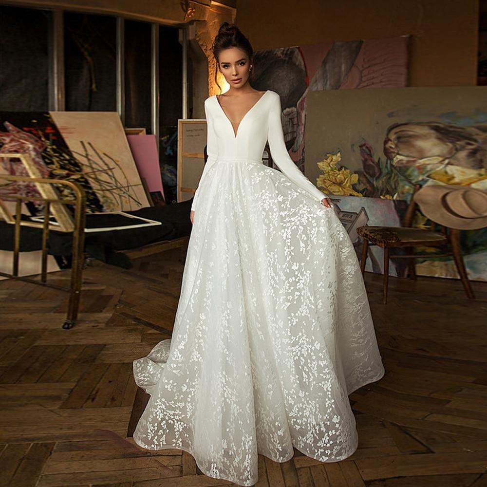 Simple Lace Wedding Dresses 2020 Long Sleeve V-neck Boho Bridal Gowns Satin Backless White Vestido De Noiva Plus Size Customized