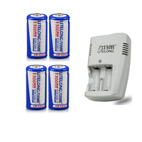 4PCS Large capacity 1300mAh 3V CR123A rechargeable battery LiFePO4 16340 lithium battery + 1PCS CR123a smart charger