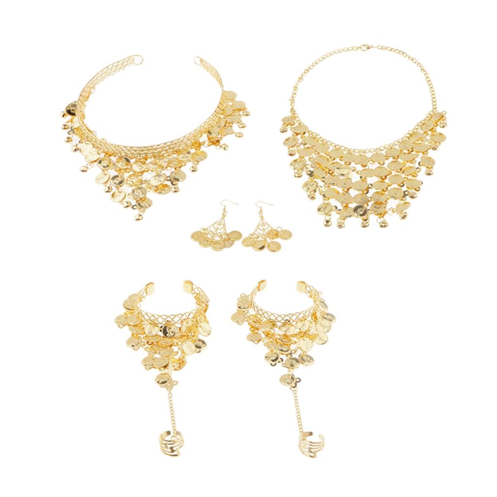 4 Pcs Gold Gypsy Belly Dance Jewelry Set Necklace Earrings Bracelet Headband And Hoop/clip-on Earrings Set