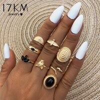 17KM-Conjunto de anillo con piedra negra redonda para mujer, anillos de nudillo de Tigre y Animal Vintage, joyería de tendencia 2021