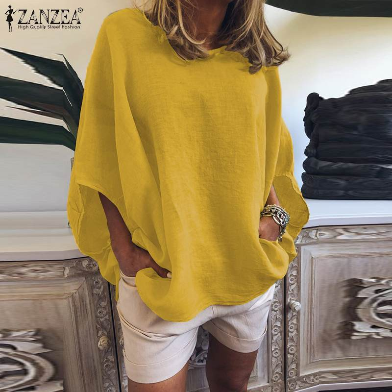 Summer Tunic Women's Blouse 2019 ZANZEA Fashion Casual Solid Tee Shirt O Neck Work Blusas Female Half Sleeve Shirts Oversized