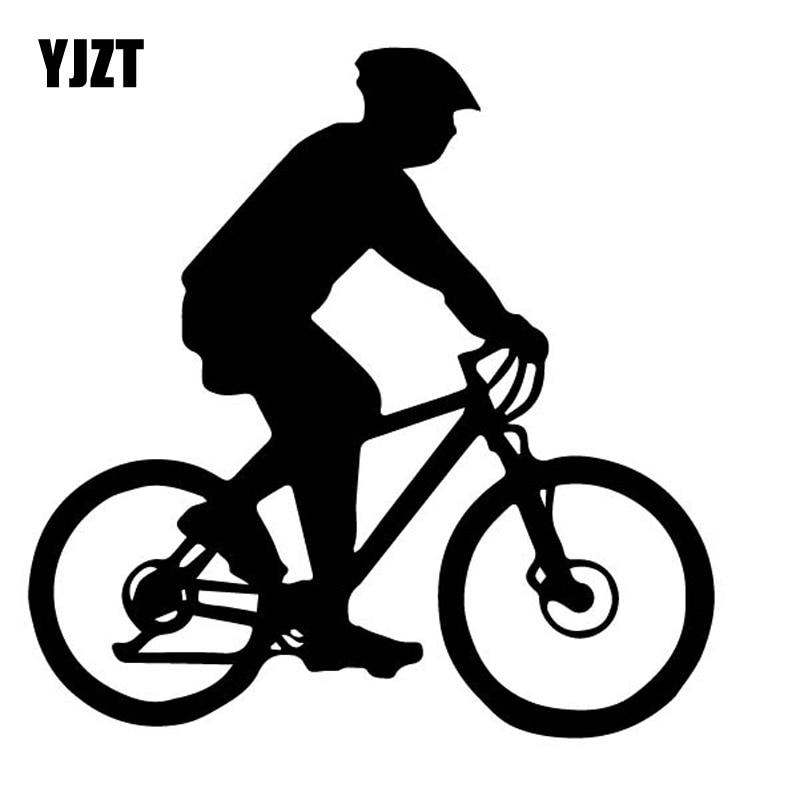 YJZT 15CM*15.2CM Dazzling Bicycle Effortful Cyclists Bike Shadow Vinly Decal Elegant Decor Car Sticker Black/Silver C27-0821