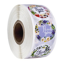 500 pcs/roll flower stickers thank you seal labels for Valentine's day gift, food bag decoration sticker