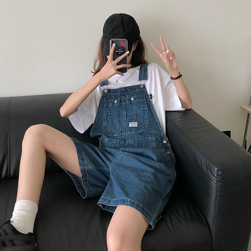 SML Summer korean preppy style Jumpsuit Denim Overalls Casual Girls blue Jeans Shorts womens (78500)