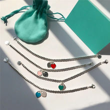 Pulsera clásica de plata de ley 2020 con doble corazón para mujer, brazalete de 4 colores, regalo romántico para tu novia, 925 T
