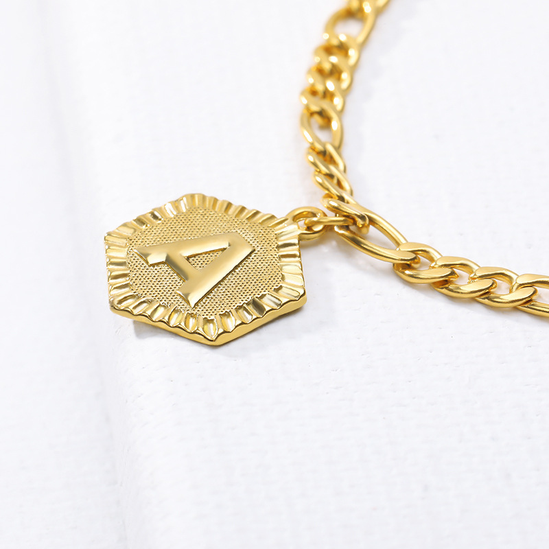 Hot 26 Initial Figaro Chain Anklet A-Z Letter Hexagon Coin Charm Anklet Summer Fashion Men and Women Boho Jewelry Gift