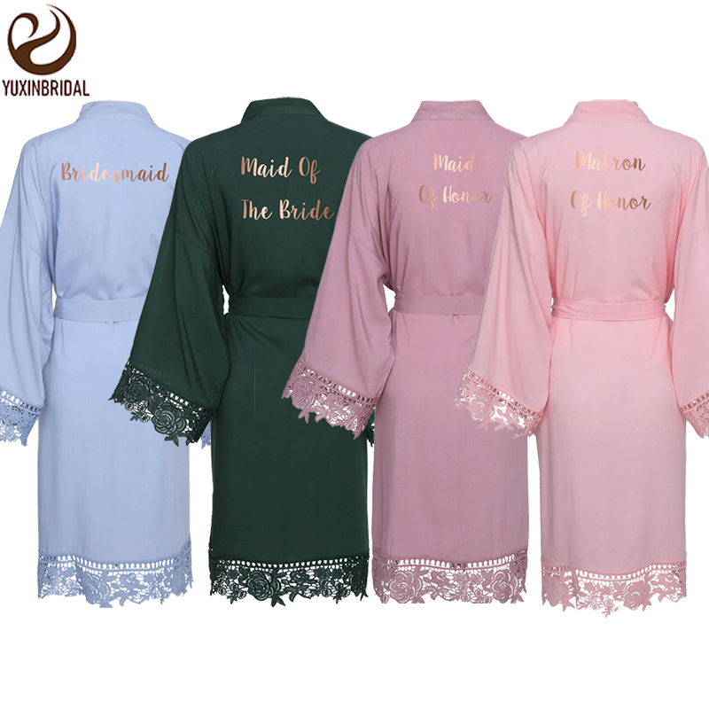 YUXINBRIDAL New Green Cotton Lace Robes With Lace Trim Women Wedding Bridal Robe Bridesmaid Robes Bride Robes