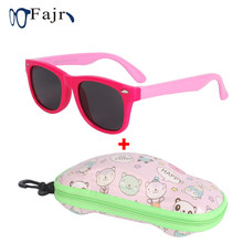 Polarized Glasses Kids Children's Square Sunglasses Girls Sports Eyeglasses With New Car Case Silicone Frame Black Lenses Boys