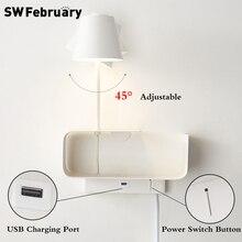 Светодиодный настенный светильник swфеврав скандинавском стиле, современная настенная лампа для спальни, прикроватный светильник, креатив...