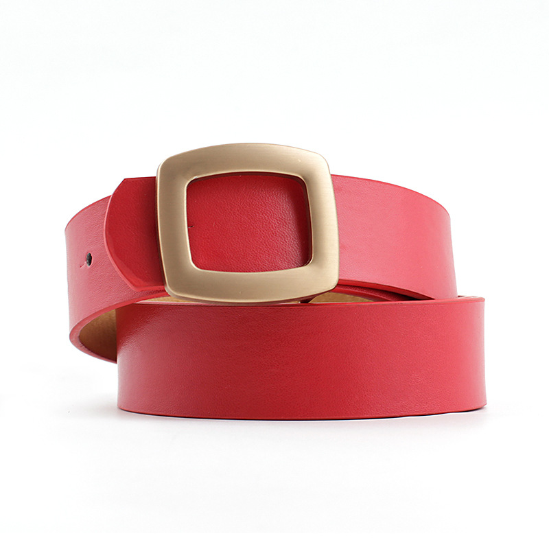 2020 New Women's Pink Red White Black Brown Wide Leather Waist Belt Female Strap Ladies Gold Square Buckle Belts For Women Jeans